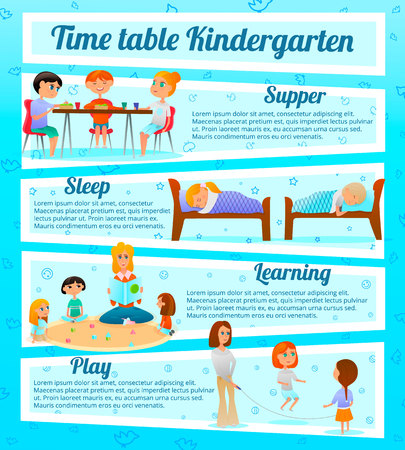 Kindergarten characters infographics with timetable of kids activities including learning and games on blue background vector illustration Illustration