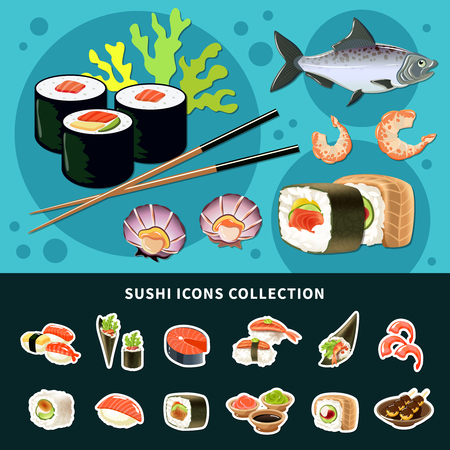 Sushi flat composition with colored poster and sushi icon collection and different types of fish dish vector illustration Иллюстрация