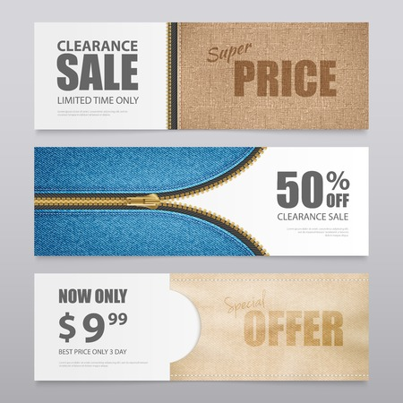 Cloth textile clearance sale special offer 3 horizontal advertisement banners with realistic fabric texture isolated vector illustration Иллюстрация