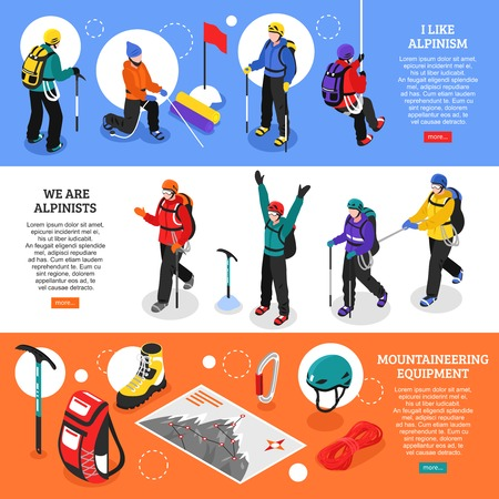 Alpinists isometric banners with mountaineering equipment and climbers in winter uniform used for expedition 3D vector illustration
