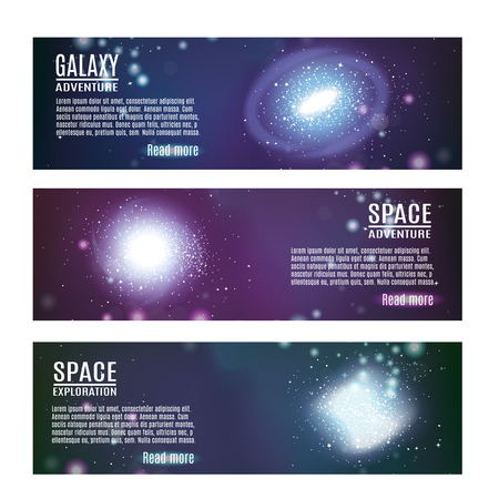 Set of three galaxy spiral realistic banners with images of space with clusters of stars and text vector illustration