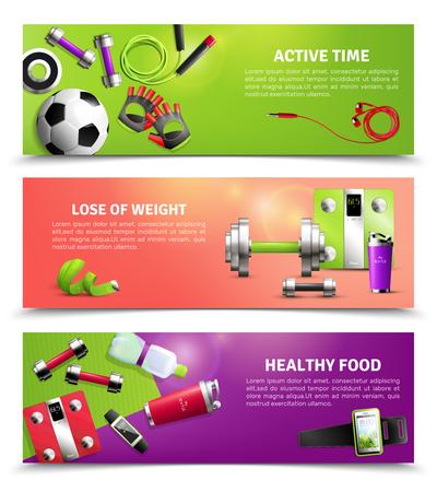 De horizontale die banners van de geschiktheidsgymnastiek met de gezonde geïsoleerde vectorillustratie van gezonde voedselsymbolen worden geplaatst Vector Illustratie