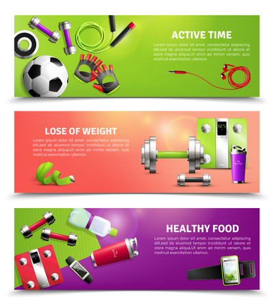 Fitness gym horizontal banners set with healthy food symbols realistic isolated vector illustration Foto de archivo - 95380698