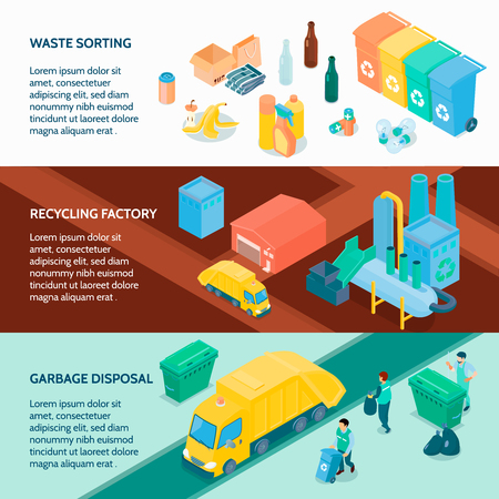 Garbage disposal waste sorting and recycling factory 3 horizontal isometric banners with infographic elements  isolated vector illustration
