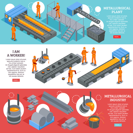 Steel industry metallurgical plant production facilities 3 isometric horizontal banners webpage design colorful background isolated vector illustration