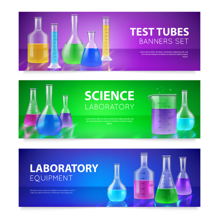 Realistic test-tubes retorts scientific chemical laboratory glassware equipment 3 horizontal colorful banners set isolated vector illustration