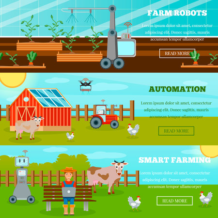 Smart farming horizontal banners with farm robots drones and internet of things in agriculture flat vector illustration
