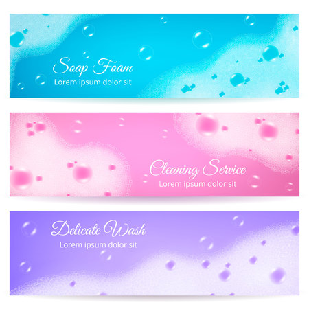 Delicate wash horizontal banners with soap foam on blue pink and purple backgrounds realistic vector illustration