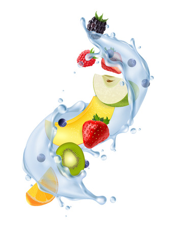 Realistic water splash in air with fresh strawberries citrus kiwi fruit segments refreshing detox drink vector illustration  イラスト・ベクター素材