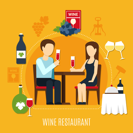 Wine icons and young couple drinking at restaurant on yellow background flat vector illustration