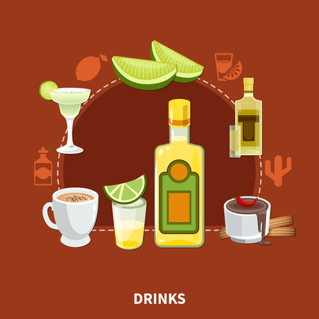 Mexican drinks composition on maroon background with tequila, cocktails, cocoa with chili pepper and cinnamon,  vector illustration