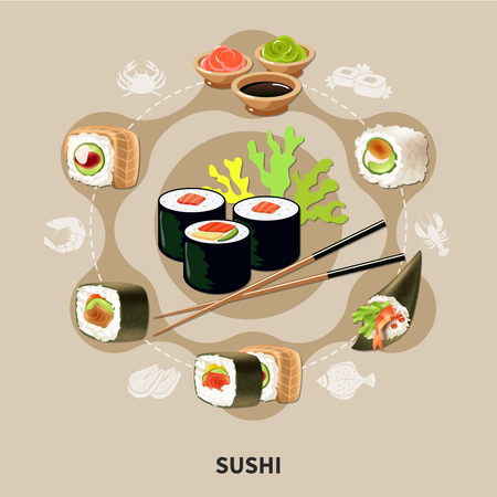 Flat sushi composition with different types of sushi or rolls arranged in a circle vector illustration Иллюстрация