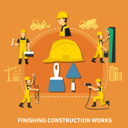 Colored and flat construction worker composition with finishing construction works steps description vector illustration