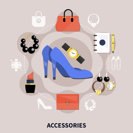 Clothes flat composition with colored accessories handbags watches shoes pumps and other vector illustration