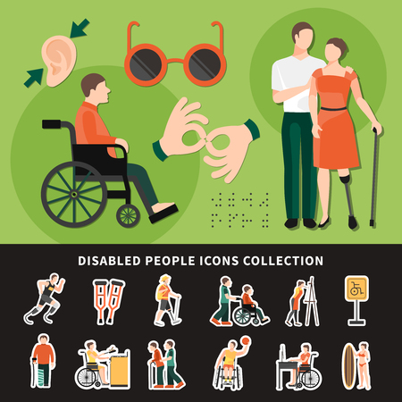 Disabled person flat and colored composition with disabled people icons collection description vector illustration Illustration