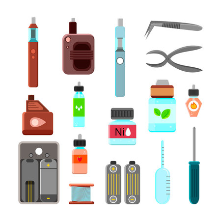 Vape gear accessories tools power cigarettes holders carrying case holders power charges flat icons isolated vector illustration