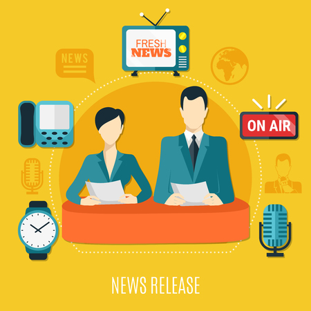 News release design composition with male and female television announcers reading news on air flat vector illustration