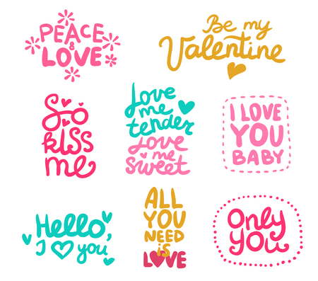 Set of labels with calligraphic love phrases of various color decorated flowers and hearts isolated vector illustration