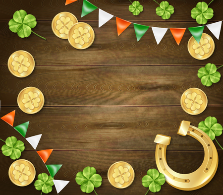 Saint patricks day frame on wooden background with golden horseshoe and coins, clover, colorful pennants vector illustration