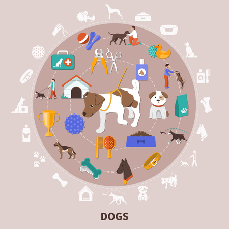 Dogs round composition with flat isolated images for pet owners with food toys grooming and training vector illustration