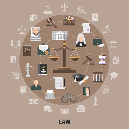 Set of law concept icons.