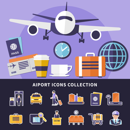 Flat collection of various airport icons isolated on background and flying plane vector illustration Ilustracja