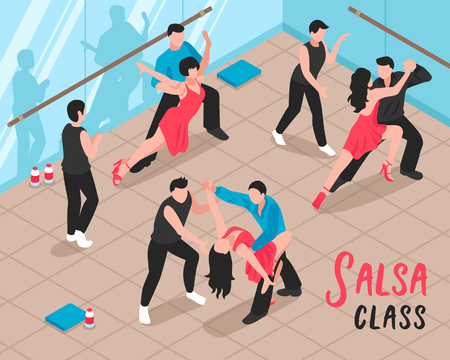 Salsa class scene vector illustration