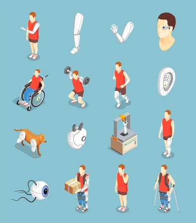 Bionics technology isometric icons set of implants artificial organs and people with prosthesis after injury isolated vector illustration
