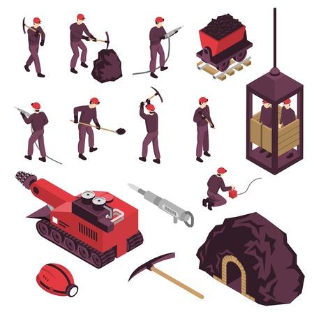 空気圧石炭ピック絶縁ベクトルイラストで設定された鉱業労働者機械表面および地下機器アイソメトリックアイコン