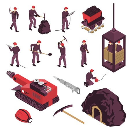 Mining industry workers machinery surface and underground equipment isometric icons set with pneumatic coal pick isolated vector illustration Vectores