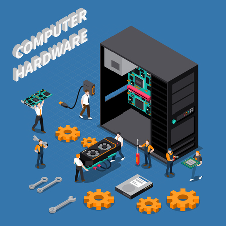 Isometric composition with computer hardware and information technology engineers repairing system unit 3d vector illustration