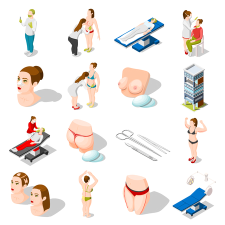 Plastic surgery isometric icons set of implants for body correction medical instruments doctors and patients isolated vector illustration 일러스트