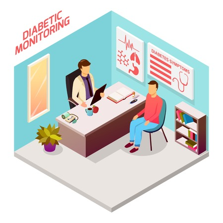 Diabetes control isometric composition 3D vector illustration