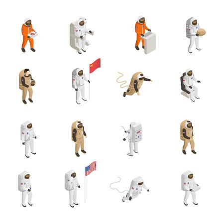 Gli esploratori degli astronauti nella tuta spaziale calcola la raccolta isometrica delle icone con gli astronauti che galleggiano nell'illustrazione di vettore isolata spazio cosmico Vettoriali