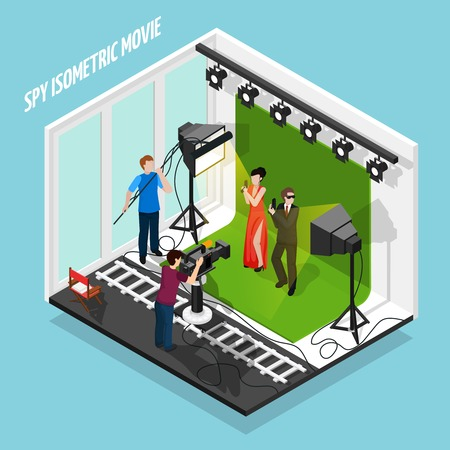 Shooting movie about special agents isometric composition on blue background with staff and film equipment vector illustration
