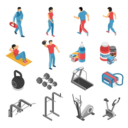 Healthy lifestyle attributes isometric icons collection with fitness gym exercises equipment.