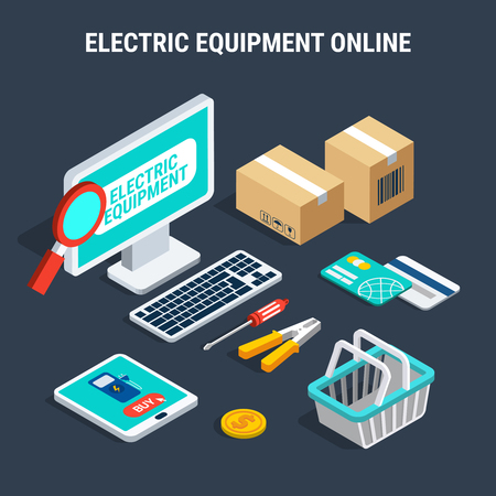 Electricity isometric composition with colored and isolated elements of electric equipment online vector illustration Illustration