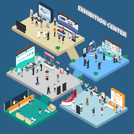 Multistory exhibition center isometric composition on blue background with exposition stands, business people, vector illustration
