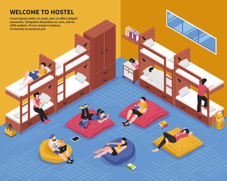 Hostel bedroom with guests on bunk beds and on bag chairs in rest zone isometric vector illustration