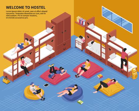 Habitación del albergue con invitados en literas y sillas de bolsa en la ilustración de vector isométrica de la zona de descanso Ilustración de vector