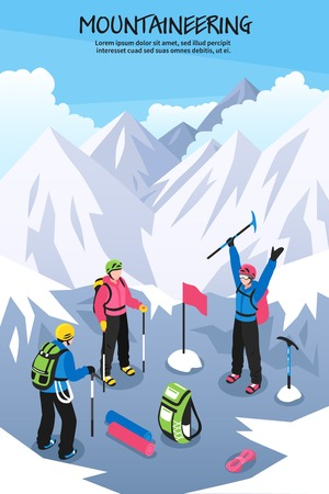 Mountaineering composition with editable text and group of climbers with equipment.