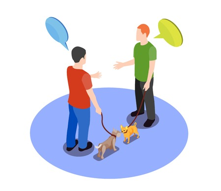 Beloved pets design concept with two men meeting for walk with their dogs isometric vector illustration