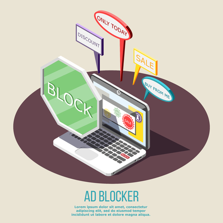 Ad blocking isometric composition on brown round with protected laptop from annoying advertisement vector illustration