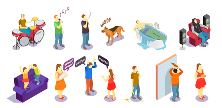 Neighbors relations isometric people during quarrel, singing, repair and sounds of drum, barking dog isolated vector illustration
