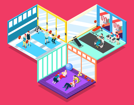 Gym isometric design concept with people and their personal sport trainers working indoor vector illustration Illustration