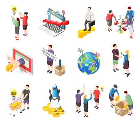 Set of isometric icons with creative idea, crowdfunding startup, international financial investment, collect money isolated vector illustration Illustration