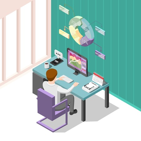 Online trading isometric background with creative man at workplace looking for change in prices on stock market vector illustration Illustration