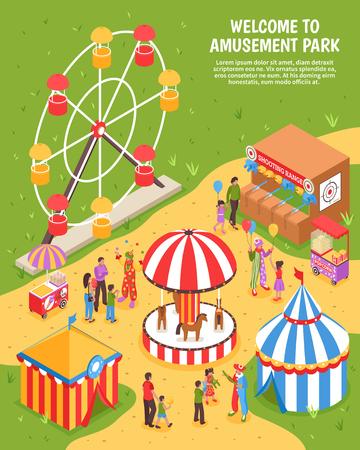 Amusement park isometric poster with carousel ferris wheel shooting range clowns meeting visitors 3d vector illustration Illustration