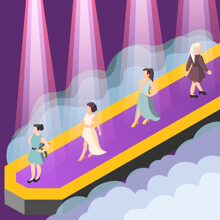 Presentation of fashion clothing collection isometric composition with models on catwalk in rays of spotlight vector illustration