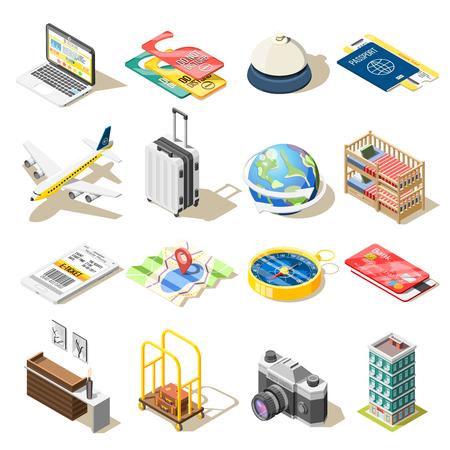Iconos isométricos de viaje conjunto ilustración vectorial
